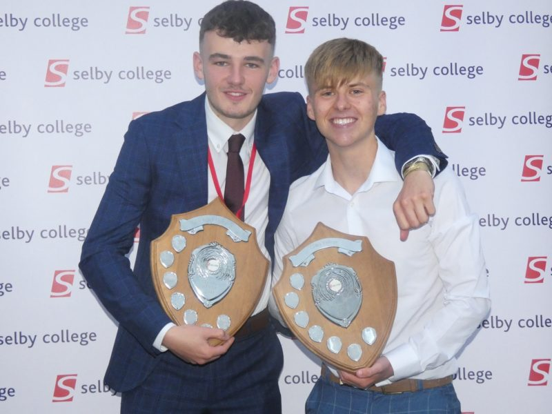 Mens Football 1st Team Captain Harry Jackson left with Team of the Year award and 2nd Team Captain Sam Gibbons right with Sports Personality of the Year award