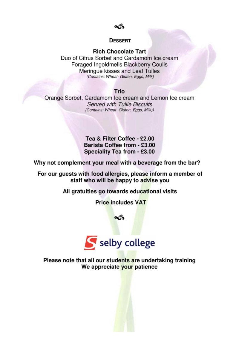 Lunch menu May Light Lunch Menu 27th May 2